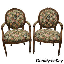 Pair French Country Louis Xv Style Finely Carved Round Back Walnut Arm Chairs