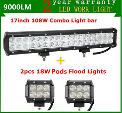 17inch 108w Led Light Bar Driving Lamp 4wd Suv Ute Fog Combo+2x 4 18w Pods Cube
