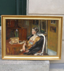 Antique Oil. Superb Manor House Interior With Elegant Lady. 1880. Must See