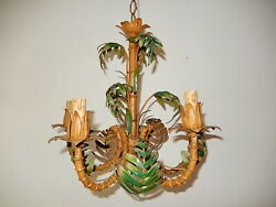 C 1950 French Faux Bamboo Tole Palm Tree 5 Light Chandelier Vintage 1 Of 2