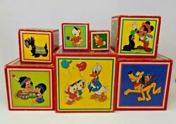 Vintage Walt Disney Productions 7 Wood Stackable Boxes Nesting West Germany Toy