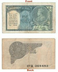 Extreme Rare 1940 J.w.kelly One Rupee Note British India George V Note G5-51