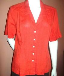 LIZ CLAIBORNE 12 Petite Bright Tangerine Orange 100% LINEN Blouse Top Shirt