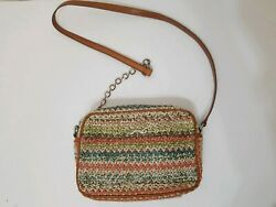 Bimba y Lola Leather Straw Woven Chain Crossbody Shoulder Bag $34.79