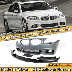 Front Bumper M Sport Style Performance Lip W PDC For BMW 5-Series 14-16 F10 LCI
