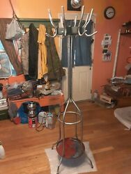 Vintage Chrome Art Deco Hall Tree Coat Hat Rack Rotating Courasel Spinning Top