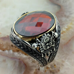 Solid 925 Sterling Silver Ottoman Symbol Red Zircon Stone Menand039s Womanand039s Ring 2