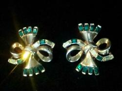 VTG~ COLLECTOR'S SIGNED CROWN TRIFARI PAT PEND~ KINGS JEWELS CB EARRINGS EMERALD