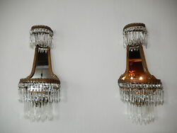 Old French Crystal Prisms Bronze Sconces Empire With Mirrors Vintage C 1900
