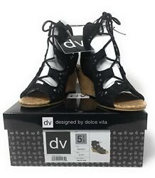 Dolce Vita (DV) Marybeth Model Cork Wedge Shoe. Black. Size 5.5 NIB