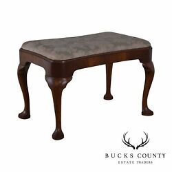 Custom Quality Vintage Mahogany Queen Anne Bench