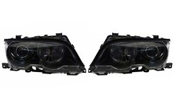 Pair Set Left And Right Genuine Black Xenon Headlights Lamps For Bmw E46 3-series