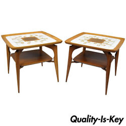 Pair Of Mid Century Danish Modern Walnut And Tile Dish Top Sculptural End Tables