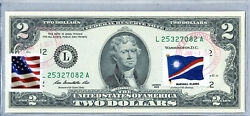Two Dollar Bill Us Currency Paper Money 2 Bank Note Stamp Flag Marshall Islands