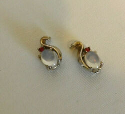 Vintage Signed Trifari Alfred Philippe Jewels India Moonstone Clip-On Earrings