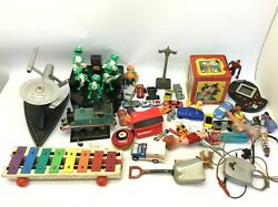 Mixed Vintage Lot Toys Figures Parts View Master Star Trek Phone Frog Band Cars