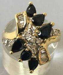 Gemstone Cocktail Ring W/ Diamonds And 6 Pear Shaped Sapphires In Yellow Gold