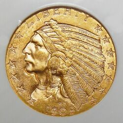1909-d Ngc/cac Ms64 5 Indian Head Gold