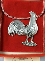 1981 American Heritage Rooster Sterling Silver Christmas Ornament New, W/box Bag