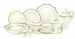57 Piece Bone China Dinner Dish Set For 8 - White Plates With Gold Banded Trim