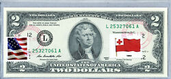 Us Currency Paper Money Two Dollar Bill Unc Collection Stamp National Flag Tonga