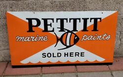 1950's Pettit Marine Paints Sign--see My Other Original Porcelain Neon Old Sign