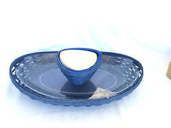 Longaberger Serving Basket Swoop Tray And Protector + Triangle Dip Bowl Set Blue
