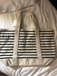 """GAP 20"""" NEW Tote Canvas Bag Navy Striped $13.99"""