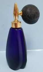 Cobalt Glass Perfume Bottle With Atomizer Vintage