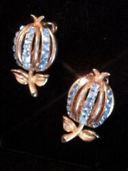 VTG~ COLLECTOR'S SIGNED CROWN TRIFARI PAT PEND ~ KINGS JEWELS CB EARRINGS W RS