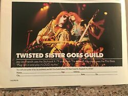 1985 Vintage 5.5x8 Print Ad For Twisted Sister Goes Guild Guitars Jay-jay French