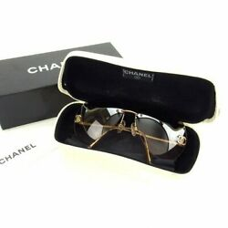 Used authentic CHANEL Sunglasses rimless Clear beige 4108-B Rhinestone teardrop