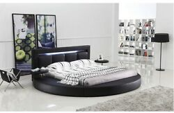 Oslo Round Bed With Headboard Lights Queen Size Black