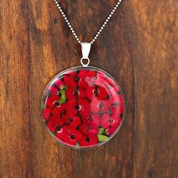 Sterling Silver Natural Red Roses Love Pendant Taxco Mexico