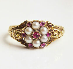 Fine Antique Georgian 15ct Gold Ruby And Pearl Cluster Ring C1820 Uk Size And039o 1/2and039