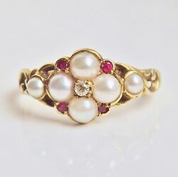 Stunning Antique Georgian 15ct Gold Diamond Ruby And Pearl Cluster Ring C1825