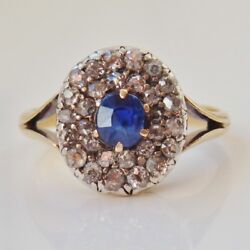 Fine Antique Victorian 18ct Gold Sapphire And Diamond 0.50ct Cluster Ring C1900