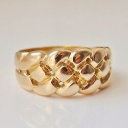Fine Antique Victorian 18ct Gold Knotwork Keeper Ring C1900