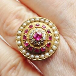 Stunning Antique Victorian 9ct Gold Diamond Ruby And Pearl Cluster Ring C1880