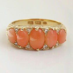 Stunning Antique Victorian 18ct Gold Coral And Diamond Ring C1900 Uk Size And039mand039