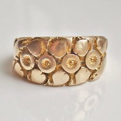 Fine Antique Edwardian 18ct Gold Flower And Heart Motif Keeper Ring C1907