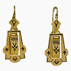 Fine Antique Victorian 14ct Gold And Black Enamel Taille Dand039andeacutepargne Earrings C1875