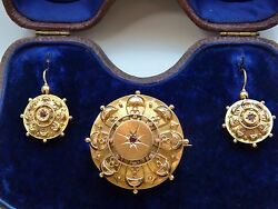 Fine Antique Victorian 15ct Gold Garnet Brooch And Earrings C1871 In Tooled Case