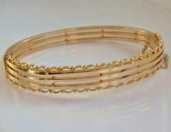 Stunning Antique Victorian 15ct Gold Hinged Bangle C1895 With Concealed Clasp
