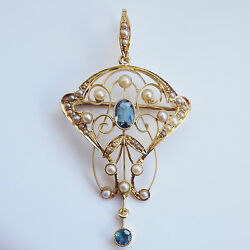 Stunning Antique Victorian 15ct Gold Aquamarine And Pearl Pendant Brooch C1895