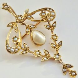 Stunning Antique Victorian 9ct Gold Blister Pearl Set Pendant Brooch C1895