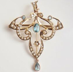 Stunning Antique Victorian 9ct Gold Aquamarine And Pearl Pendant Brooch C1895