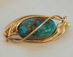 Antique Murrle Bennett 9ct Gold Matrix Turquoise Set Brooch C1900