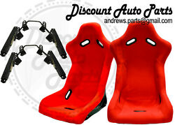 Spoon Style Ultra Light Bucket Seats In Red Cloth W/ Short Mount+sliders Pair