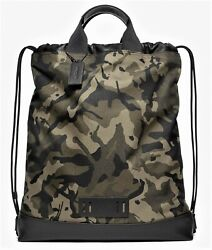 Coach 'terrain Drawstring' Men's Backpack / Bag W/ Camouflage Printed Canvas Nwt